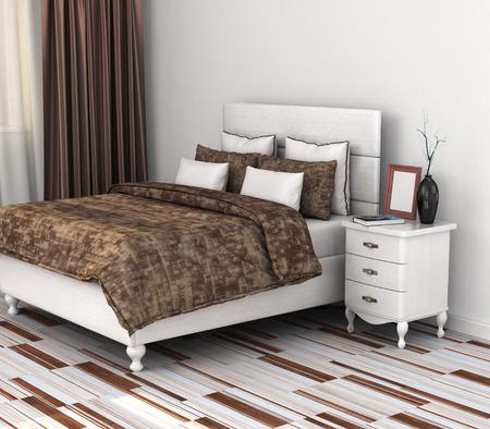 matrimonial: Modern bedroom. 3d illustration