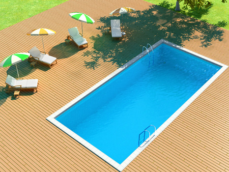 sunbeds: 3d illustration of backyard with pool and lounge chairs for relaxing