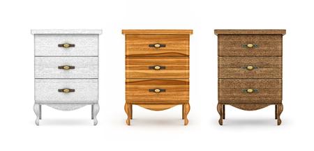 muebles de madera: mesitas de noche, una colección de muebles de madera sobre un fondo blanco Foto de archivo