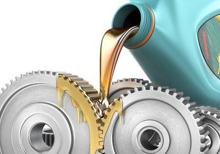 Oiling Gears. 3d illustration Stock Photo