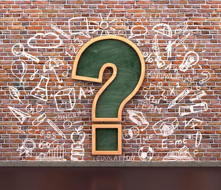 breaks: classroom blackboard in shape question marks on breaks wall with chalk drawing icons, 3d illustration Stock Photo