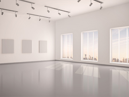 window display: 3d illustration of spacious interior empty gallery