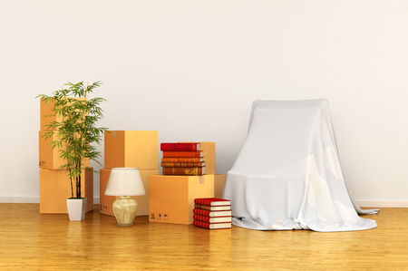 relocation: relocation concept box in an empty room. 3d illustration Stock Photo