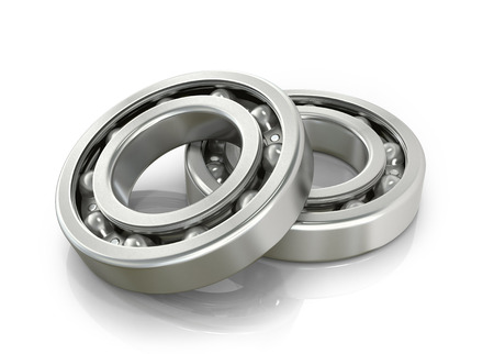 groove: Deep groove ball bearings isolated white.3D illustration.