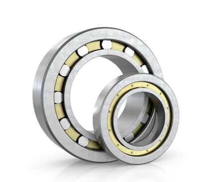 bearings: Spherical radial bearings isolated white background. 3D illustration. Stock Photo