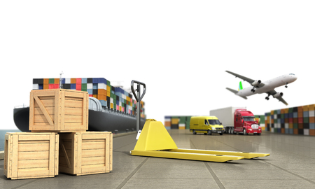 loading dock: ship in the dock and freight on the dock hand truck and boxes in the foreground concept of different directions deliveries. 3d render Stock Photo