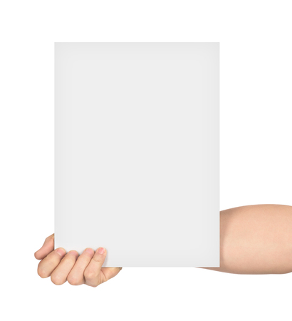white poster: hand holds empty sheet of paper isolated on white background