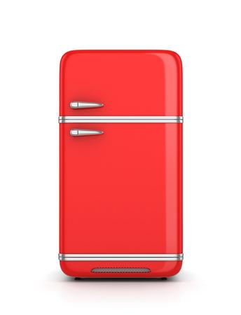 frig: Retro refrigerator isolated on white background. 3d illustration Stock Photo
