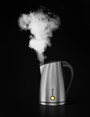 to boiling: Tea kettle with boiling water. 3d illustration