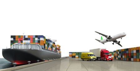 loading dock: ship in the dock and freight on the dock concept different direction deliveries. 3d render