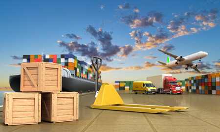 dock: ship in the dock and freight on the dock hand truck and boxes in the foreground concept of different directions deliveries. 3d render Stock Photo