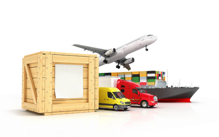 go out: 3d render of different modes of transport go out of a wooden box with a blank sheet on it isolated on white