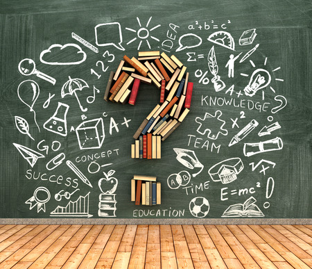 knowlage: classroom blackboard and books iin shape question marks l with chalk drawing icons, 3d illustration