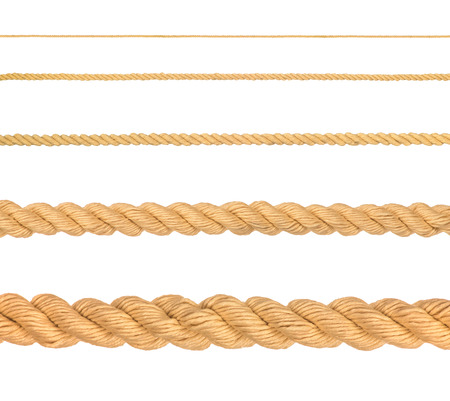 cordage: collection of various ropes on white background. each one is shot separately