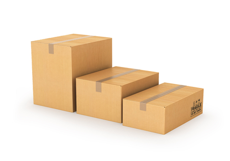 cartons: cartons of different sizes on a white background. 3d illustration