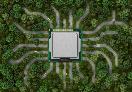 civilization: Concept of eco technology. Integration civilization in nature. Processor and roads from him in the trees. Green industry. 3d illustration Stock Photo