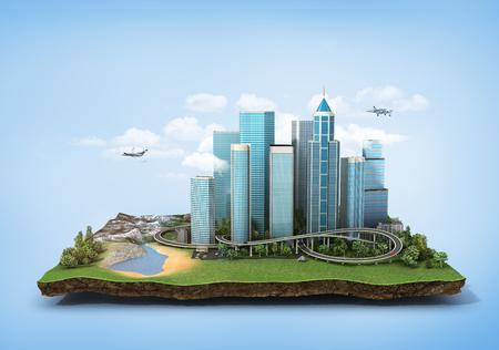 Concept van eco-stad. Moderne stad met wolkenkrabbers, snelweg en auto's omgeven door natuurlandschap op het stuk land. 3D illustratie