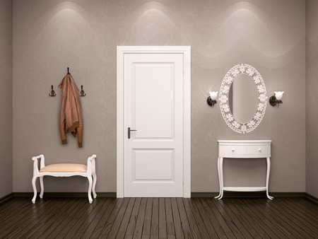 output: 3d illustration of the design of the ambience hallway in brown colors with white furniture. White door on the output or input. Stock Photo
