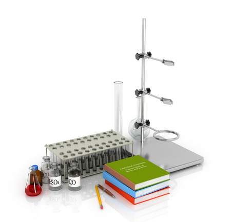 chemical equipment: Chemical equipment and laboratory with books tripod. 3d illustration.