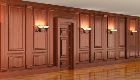 wood paneling: Wood paneling in the interior. 3d render Stock Photo