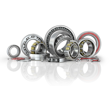 bearings: Set different bearings isolated white background. 3D illustration Stock Photo