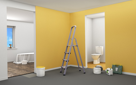 home renovation: Concept of renovation. Home renovation in rooms full of paintings tools. 3d illustration Stock Photo