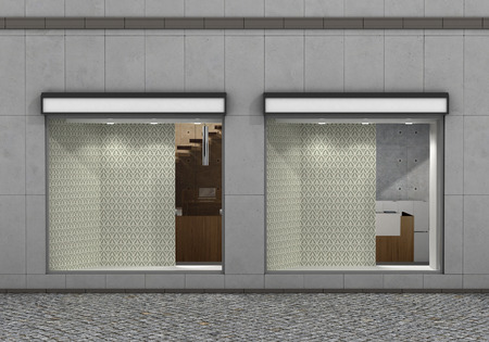 boutique display: Shop Front. Exterior horizontal windows empty for store product presentation or design. 3d illustration