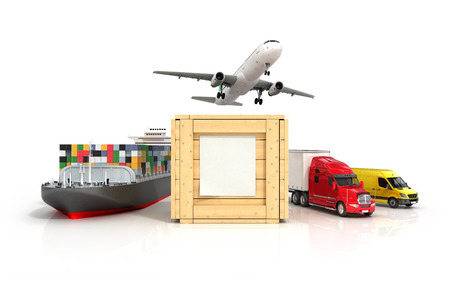 modes: 3d render of different modes of transport go out of a wooden box with a blank sheet on it