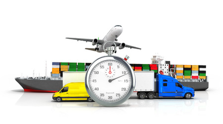 removals: 3d render of different  transport on the background of the stopwatch concept of fast diverse deliveries