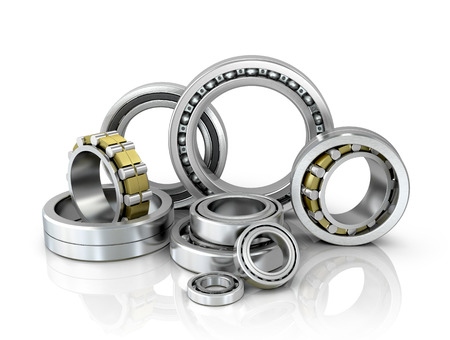 bearings: A set of bearings on a white background. 3d illustration