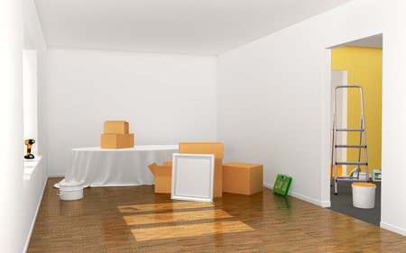 medium group of objects: Concept of moving. Box, Cardboard Boxes on the floor, against a white wall, Shipping. 3d illustraton