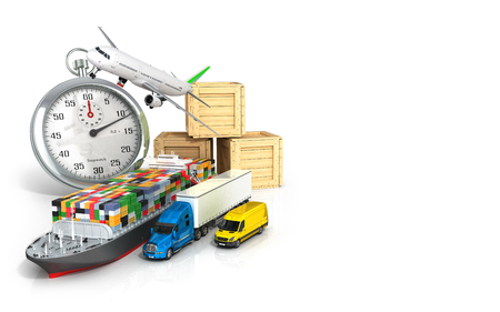 removals: 3d render of different  transport on the background of the stopwatch concept diverse deliveries of fast deliveries