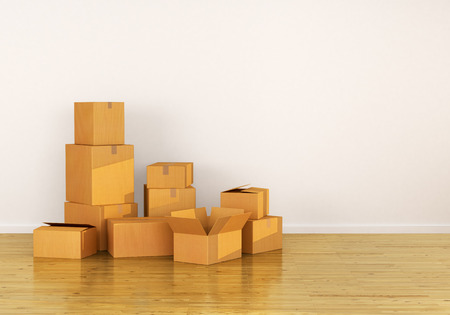 Cardboard Boxes on the floor, against a white wall, 3d illustration Stock Photo