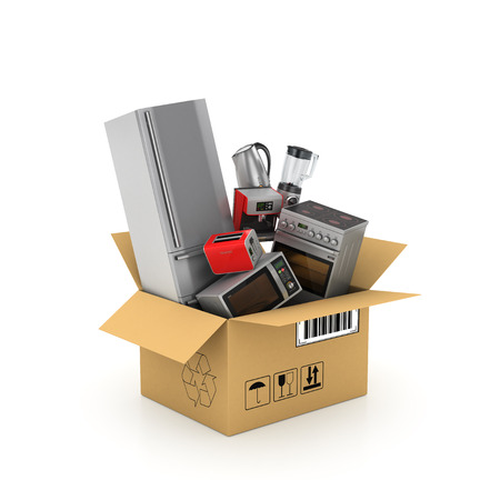 coffee blender: Kitchen appliances in cardboard box. Blender, toaster, coffee machine, fridge, plate, kettle and microwave isolated on white background. 3d illustration Stock Photo