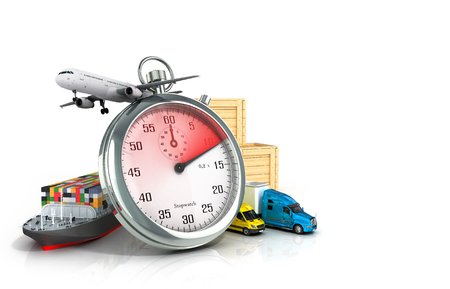 removals: conceptual background of fast timely delivery 3d illustration Stock Photo