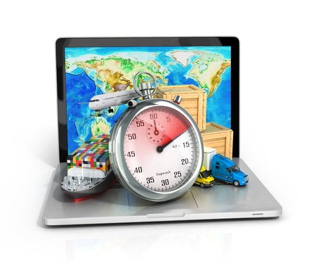 timely: conceptual background of fast timely internet delivery with a laptop 3d illustration Stock Photo