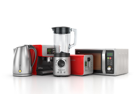 coffee blender: Kitchen appliances. Blender, toaster, coffee machine, kettle and microwave isolated on white background. 3d illustration