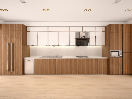 spacious: 3d illustration of Modern kitchen interior in a new house in warm colors