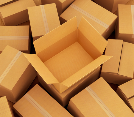 moving crate: Cardboard boxes background. 3d illustration Stock Photo