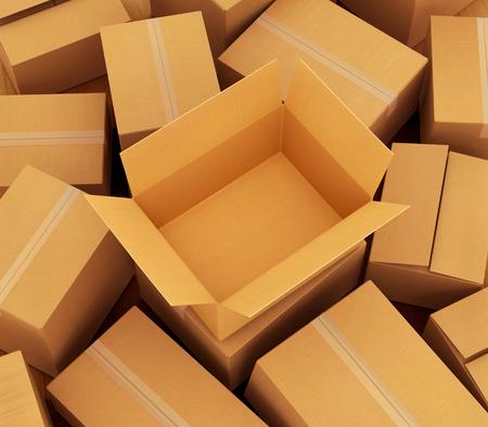 cajas de carton: Fondo de la cartulina cajas. 3d ilustración