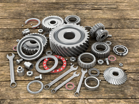spare part: Bearings and gears on wooden background.3D illustration.