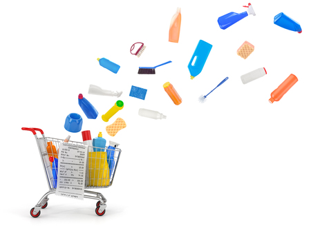 detersivi: Shopping carts with detergents and cleaning equipments Archivio Fotografico