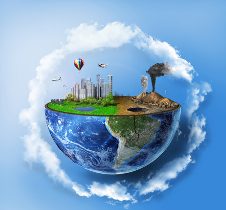 ecosystems: Eco concept. Half sphere of earth with light side and darker side in clouds. One side is eco city, different side is empty and dry ground with mountains.