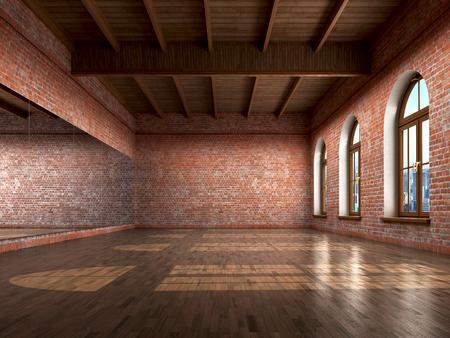 cuarto vacío grande en estilo del granero con piso de madera, pared de ladrillos, ventanas grandes y mirrow. Estudio de baile. 3d ilustración Foto de archivo