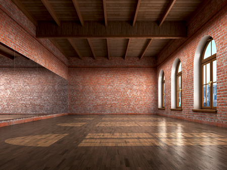Große leere Raum in grange Stil mit Holzboden, Ziegelsteinwand, große Fenster und mirrow. Tanzstudio. 3D-Darstellung