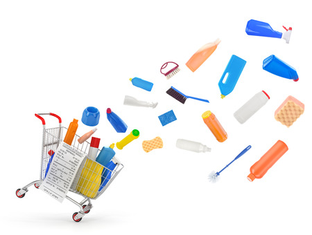 detersivi: Carrelli della spesa con detergenti e attrezzature per la pulizia Archivio Fotografico