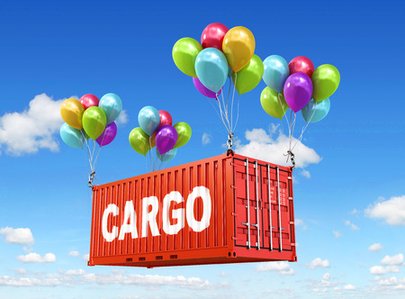 freight container: The concept of transportation. 3d illustration. Balloons are a freight container. sky background