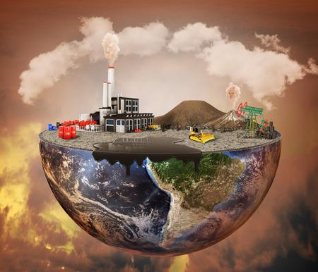 Verschmutzung Konzept. Anlagen, Maschinen, Erdöl, Emissionen, verschmutzte Luft, Deponie. Anlage mit Vulkaniern und Ölfleck auf der Hälfte des Planeten. Standard-Bild