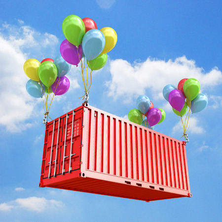 freight container: The concept of transportation Balloons are a freight container 3d render sky background