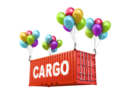 freight container: The concept of transportation. 3d illustration. Balloons are a freight container.